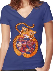 The Tiger Who Came To Tee Women's Fitted V-Neck T-Shirt
