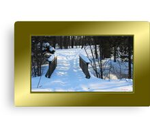 Footbridge to the Lake in Park Voyageur (framed for wall art/prints) Canvas Print