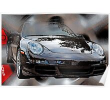 Porsche 911 Collage - watercolored Poster