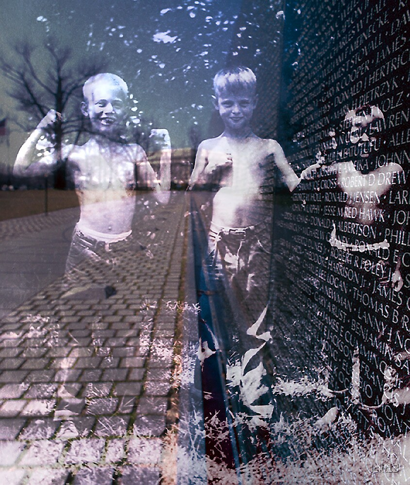 The Vietnam Wall with Ghost Children by lckt13