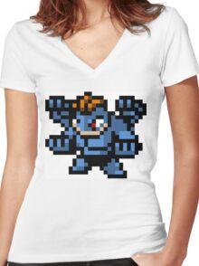 Pokemon 8-Bit Pixel Machamp 068 Women's Fitted V-Neck T-Shirt