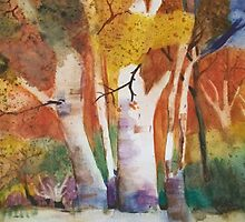 Fall Forest  oranges, yellow, trees watercolor painting by BohemianArtCafe