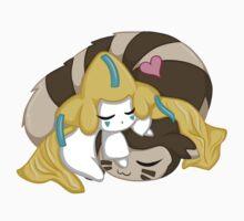 Sleepy Jirachi and Furret by Silverlace