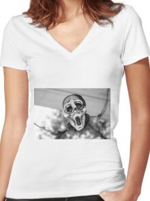 Scary Hallow Women's Fitted V-Neck T-Shirt