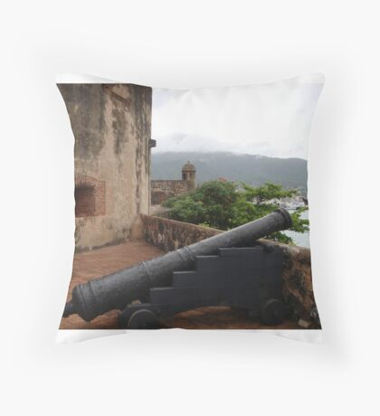 Cannon from Fort San Felipe in Puerto Plata, DR Throw Pillow