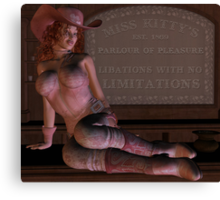 Kitty's Place - Parlour of Pleasure  Sexy 3D Cowgirl Canvas Print