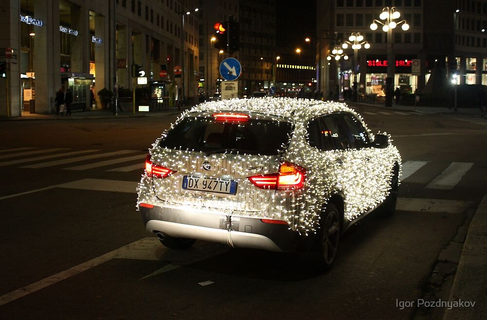 Sleigh? What Sleigh?!! A BMW with Christmas Lights. Milan 2010 by Igor Pozdnyakov