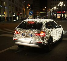Sleigh? What Sleigh?!! A BMW with Christmas Lights. Milan 2010 by Igor Pozdnyakov