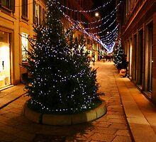 Milan. A Night Street with a Christmas Tree. 2010 by Igor Pozdnyakov