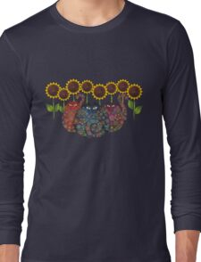 Cats With Sunflowers Long Sleeve T-Shirt