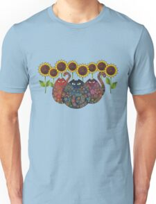 Cats With Sunflowers Unisex T-Shirt