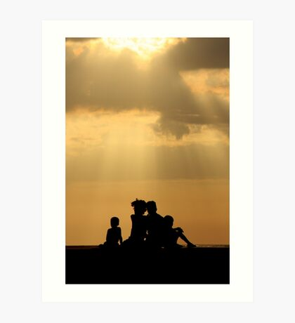 Family Watching Sunset Art Print