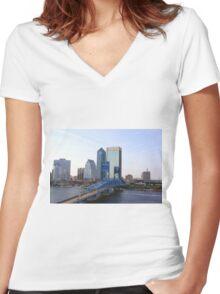 Blue Bridge Jacksonville Florida Women's Fitted V-Neck T-Shirt
