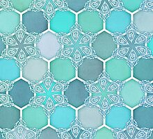 Frozen Mint Honeycomb - Doodle Hexagon Pattern by micklyn