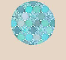 Frozen Mint Honeycomb - Doodle Hexagon Pattern Womens Fitted T-Shirt