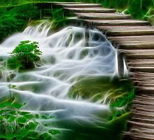 Waterfalls and Wooden Bridges by Edmond  Hogge