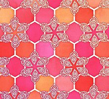 Pink Spice Honeycomb - Doodle Hexagon Pattern  by micklyn