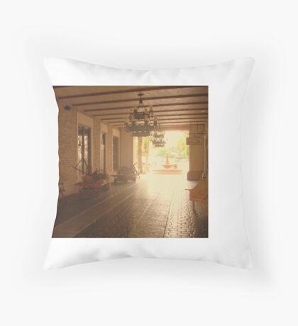 Spanish courtyard Throw Pillow