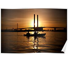 Kayaking in a Bolte Sunset Poster