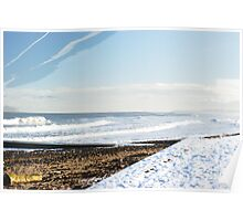 Winter Tides Sea View With Snow And Sand Poster