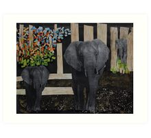 Strolling Elelphants Art Print