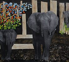 Strolling Elelphants by maureen skeoch