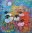 Merry Sheep In The Flowers by Juli Cady Ryan