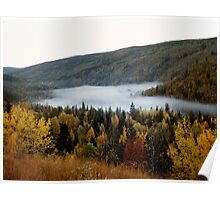 Morning Mist in Fall, Wells Gray Provincial Park, Alberta, Canada Poster