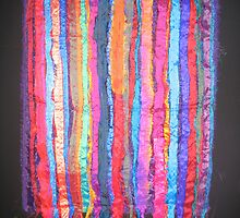 Vibrant Market - Sari Silk on Black Background by Victoria Louise