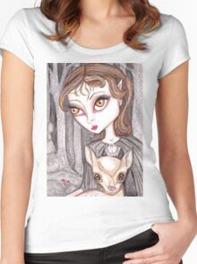 Fantasy woodland fawn Women's Fitted Scoop T-Shirt