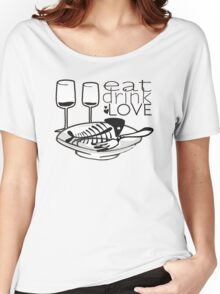 doodle fish bones dinner plates wine eat drink love Women's Relaxed Fit T-Shirt