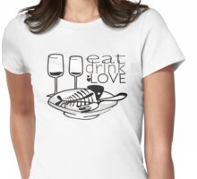 doodle fish bones dinner plates wine eat drink love Womens Fitted T-Shirt