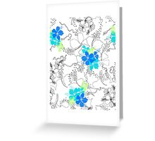 Midnight Garden Hibiscus Hawaiian Pen and Ink Illustration - Turq & Blue Greeting Card
