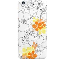Midnight Garden Hibiscus Hawaiian Pen and Ink Illustration - Orange & Yellow iPhone Case/Skin