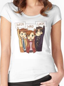 Chibi SuperWhoLock Women's Fitted Scoop T-Shirt