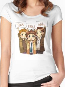 Chibi Team Free Will Ver. 2 Women's Fitted Scoop T-Shirt