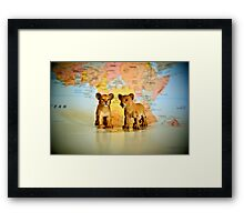 Lion Cubs On World Map Framed Print
