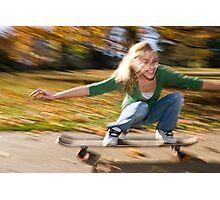 a girl on a skateboard Photographic Print