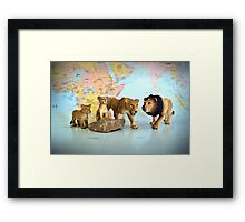 Lion Pride On World Map Framed Print