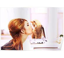 Shy Orange Furry Feline Poster
