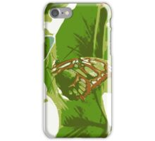 posterized green butterfly iPhone Case/Skin