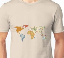 Floral Patchwork World Map Unisex T-Shirt