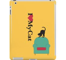 Cat on a turquoise armchair 2 iPad Case/Skin