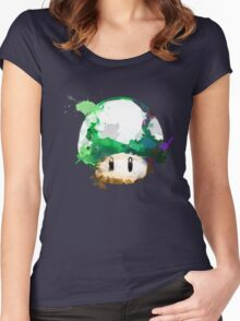 Watercolor 1-Up Mushroom Women's Fitted Scoop T-Shirt