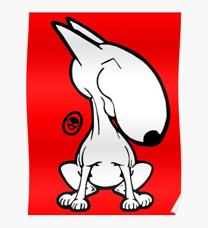 English Bull Terrier Smug Sit Poster