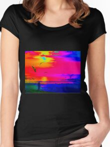 Yellow pink blue sunset Women's Fitted Scoop T-Shirt