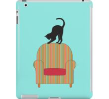 Cat on a striped armchair iPad Case/Skin