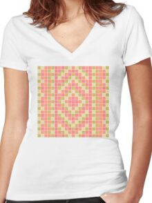 Ethnic Pattern Women's Fitted V-Neck T-Shirt