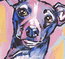 Italian Greyhound Dog Bright colorful pop dog art by bentnotbroken11