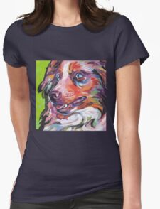 Australian shepherd Aussie Bright colorful Pop Art Womens Fitted T-Shirt